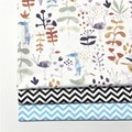100% cotton twill NORDIC WIND simple Abstract watercolor cartoon plants animals chevron fabrics for bedding apparel patchwork