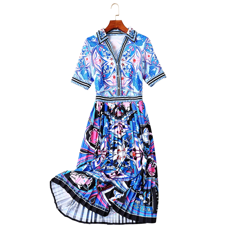 GoodliShowsi 2019 verano nuevo estilo vestido de mujer plisado cuello en V vestido largo con estampado geométrico de calle alta-in Vestidos from Ropa de mujer    3