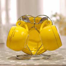 2 stücke Keramik ende farbe anzug paar tassen solide tasse mit griff Yellow & green & orange & weiß bone china kaffeetassen großhandel