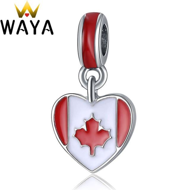 WAYA Alloy Charms Enamel Canada Flag Pendant Silver Color European Bead Fit Snake Chain Bracelet Bangle DIY Accessories Jewelry