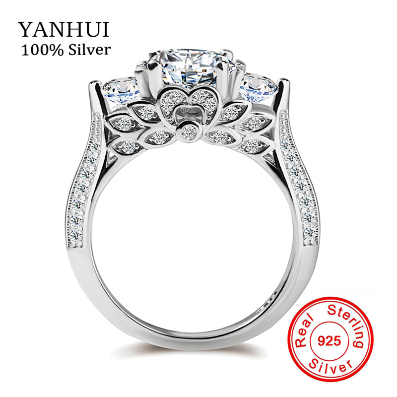 S925 Stamp Original Silver Rings Flower Set Sona CZ Diamant Engagement Rings 925 Sterling Silver Wedding Rings For Women ZR066