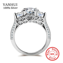 Sello original de plata s925 anillos de flores set sona anillos de compromiso cz diamant 925 anillos de bodas de plata para las mujeres zr066