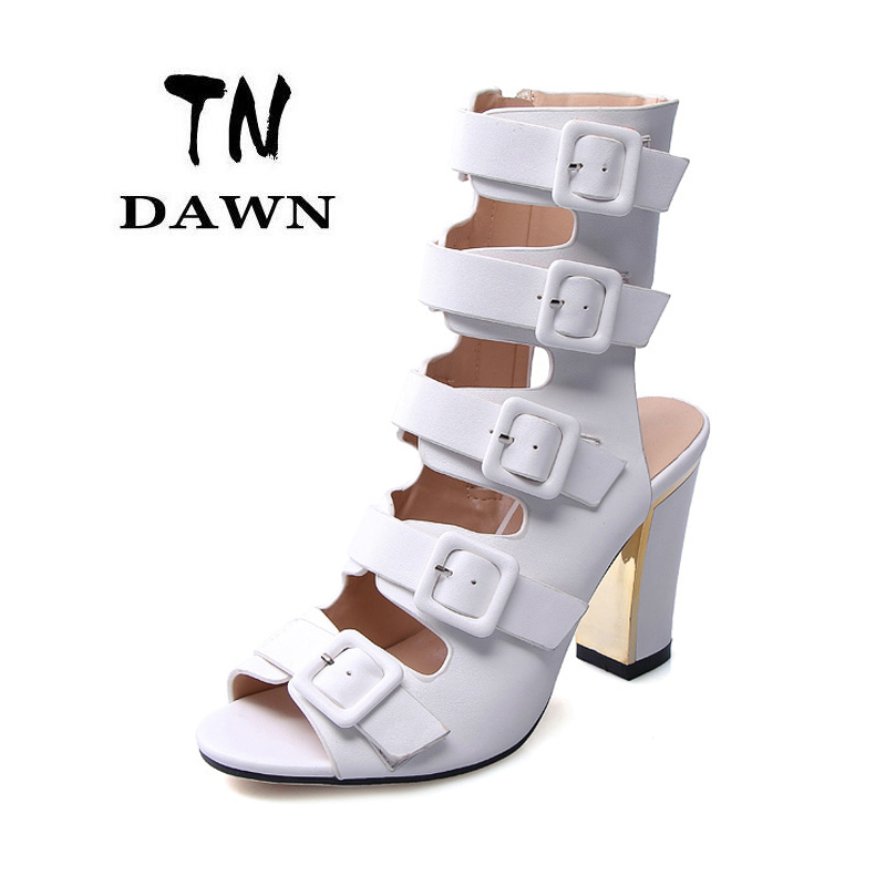New Gladiator Women Elegant High Heel Sandal Peep Top Open Toe Square Pumps Ladies Fashion Sexy Patent Pu Party Wedding Shoes