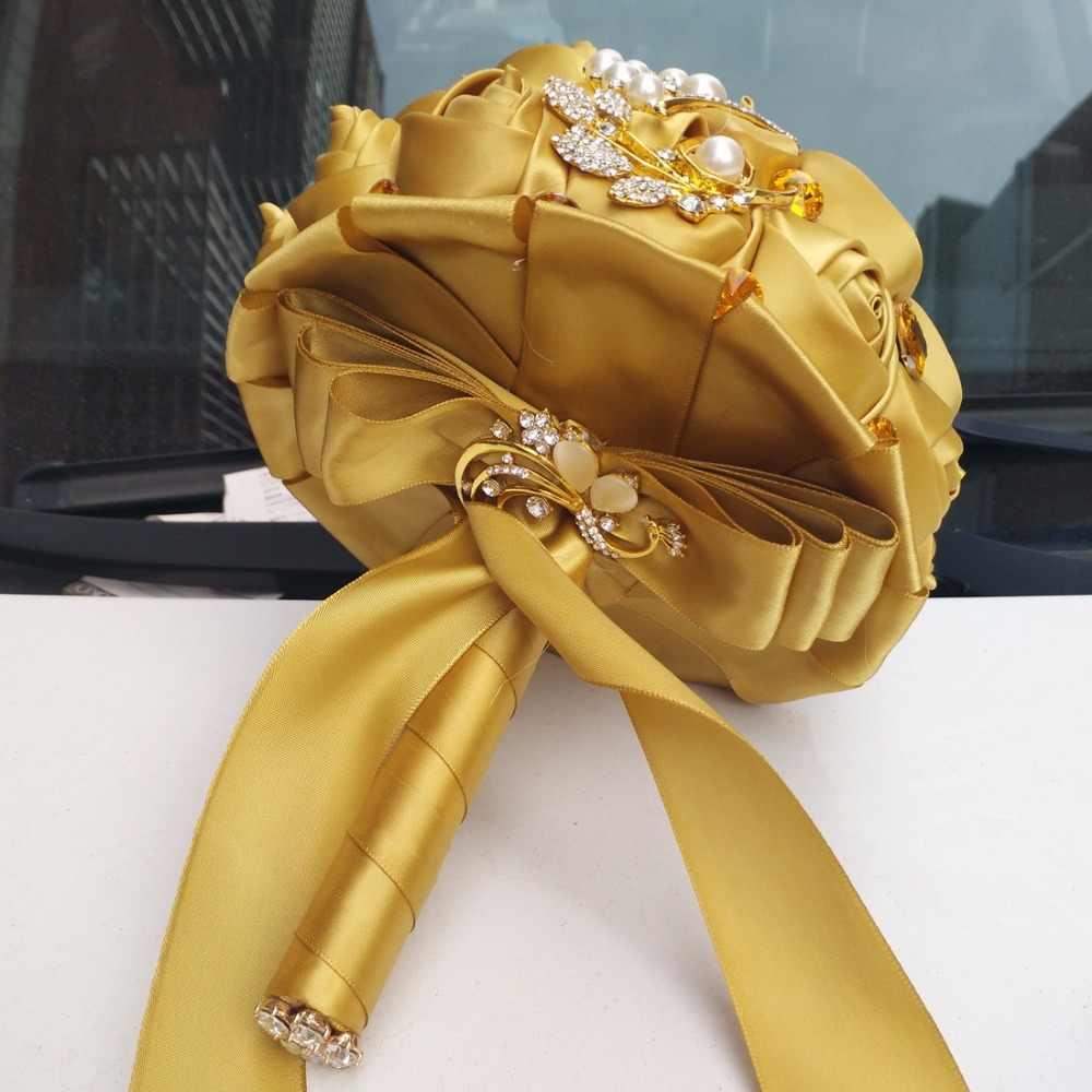 Wifelai-Emas Bros Berlian Pengantin Pernikahan Karangan Bunga Bridal Crystal Sutra Bunga Pengantin Karangan Bunga De Noiva Pabrik Kustom W227Q