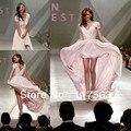 Miranda Kerr sexy pink v cuello manga del casquillo de la gasa de alto bajo celebrity vestido CD023