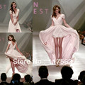 Miranda Kerr sexy pink v neck cap sleeve chiffon high low celebrity dress CD023
