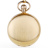 Gold Pocket Watch Fashion Mechanical Unisex Style Moon Phase Luxury Fob Pocket Watch With Chain