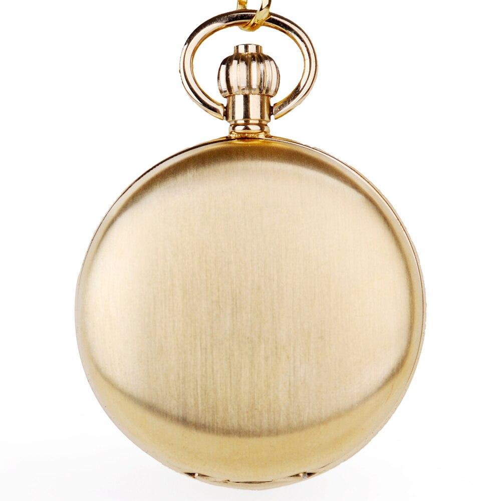 Montre de poche en or mode mécanique unisexe Style Phase de lune luxe Fob montre de poche avec chaîne