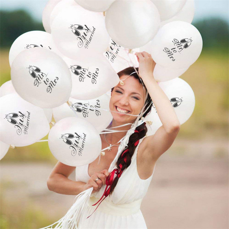 2019 New 10pcs 12-Inch Just Married Pattern Latex Balloons Set Combination Mr To Mrs Wedding Decoration Party Balloon