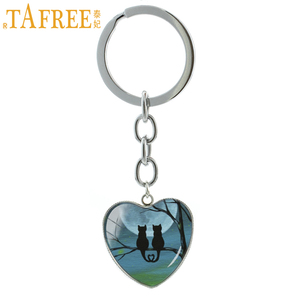 TAFREE Quiet night Full Moon Black Cat keychain novelty animals sand cat Hallowen Bat Raven heart key chain ring jewelry HP273(China)