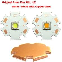 1 шт. Мощность оригинальный CREE 10 Вт xm-l L2 теплые/белый с 20 мм Медь База светодиодный чип лампы свет для светодиодный фонарик torch light