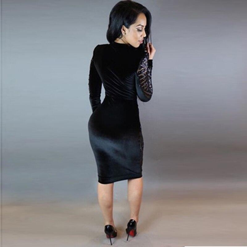 Sexy Moda Feminina Long Sleeve Sequin Dress Plus Size Women Mesh