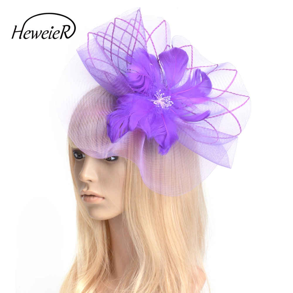 Black Fascinator Hat Netting Feather Hair Clip Cocktail Ascot Hairpiece Headwear