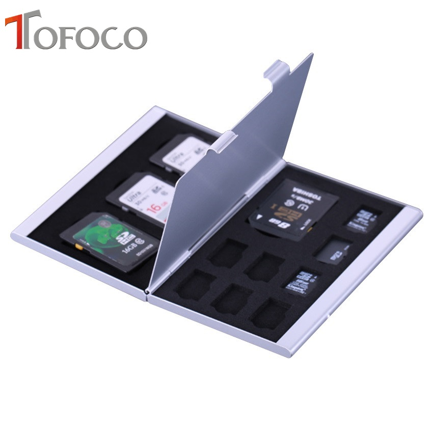 Image 2 - 2017 TOFOCO Aluminium Alloy Micro for SD MMC TF Memory Card Storage Box Protecter Case 4x for SD Card 8 x Micro SIM Card-in Memory Card Cases from Computer & Office