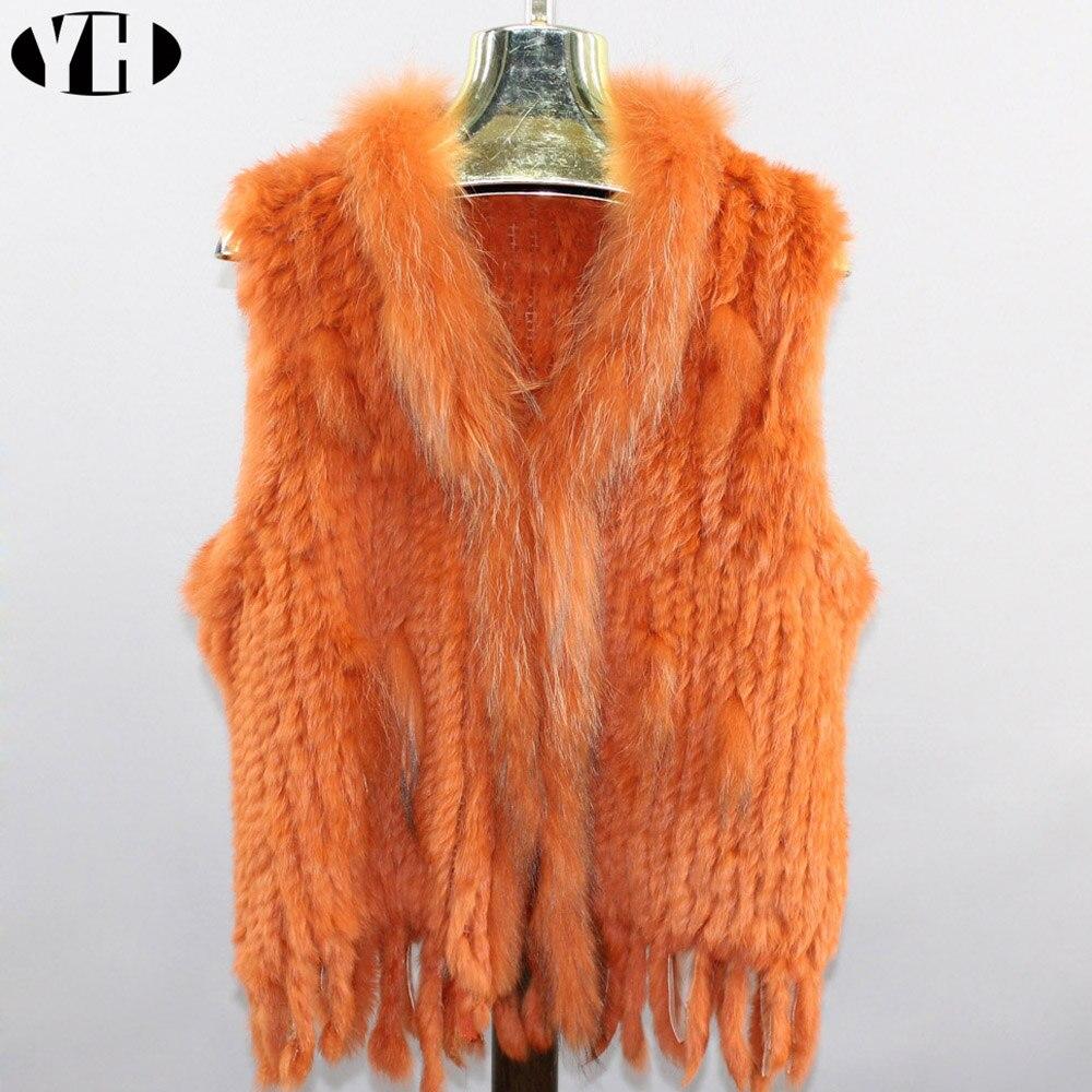 Real Rabbit Fur Vest With Raccoon Fur Collar Party Waistcoat Jackets Knitted Gilets Women Wool Vest Colete De Pele De Coelho