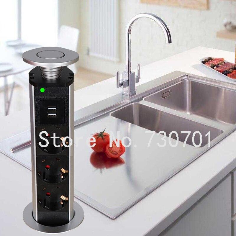 (Navire de Russie) 16A 220 v Pull Pop Up Socket Cuisine avec 3 Plug Power UE Prise 2 USB De Charge Téléphone pour le Bureau bureau Caché