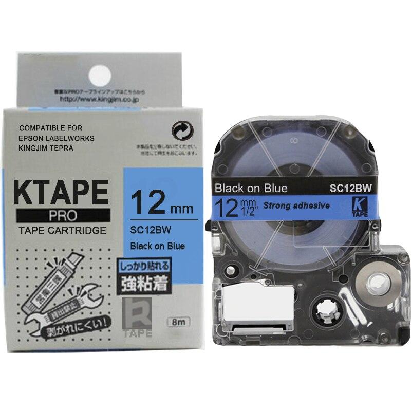 20 Rolls совместимые SC12BW/LC-4LBP черный на синий сильный клей ламинированные этикетки ленты кассеты для kingjim этикетка машина