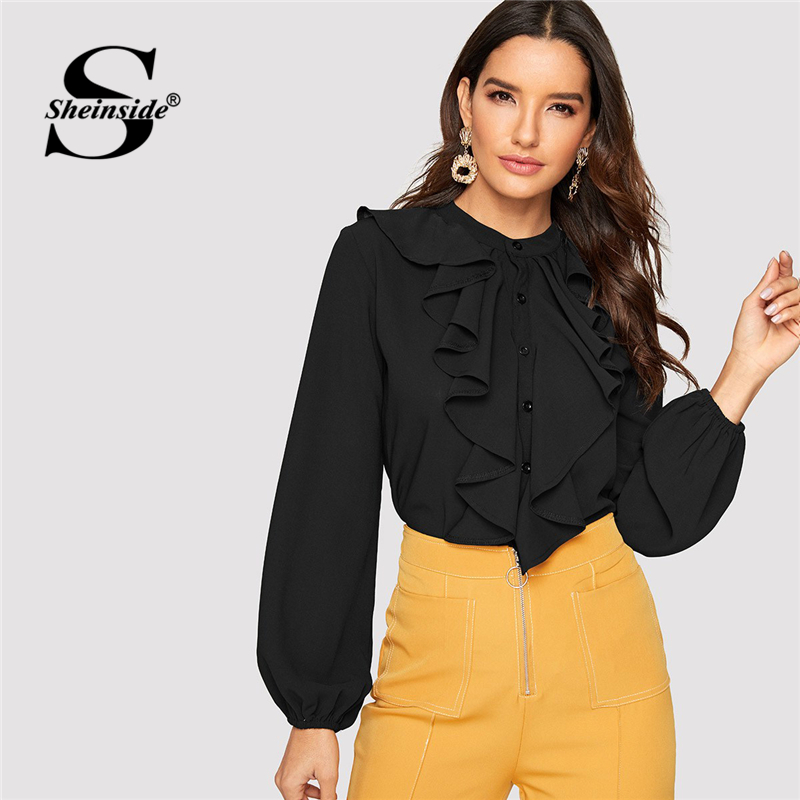 Sheinside Elegant Buttoned Jabot Collar Lantern Sleeve   Blouse     Shirt   Women Long Sleeve Tops 2019 Fall Black   Shirts   Ladies   Blouses