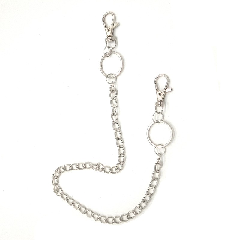 High Quality Metal Pant Chain For Unisex Fashion Punk Trousers Jean Keychain Silver Ring Clip Keyring Men's Pendant Key Jewelry