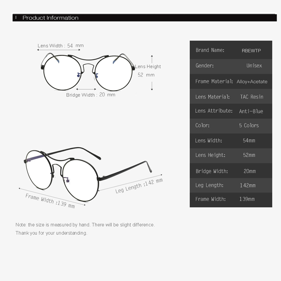 Blue Light Blocking Glasses led Reading Glasses Radiation-resistant Round EyeGlasses Computer Gaming Glasses Frame Eyewear UV400