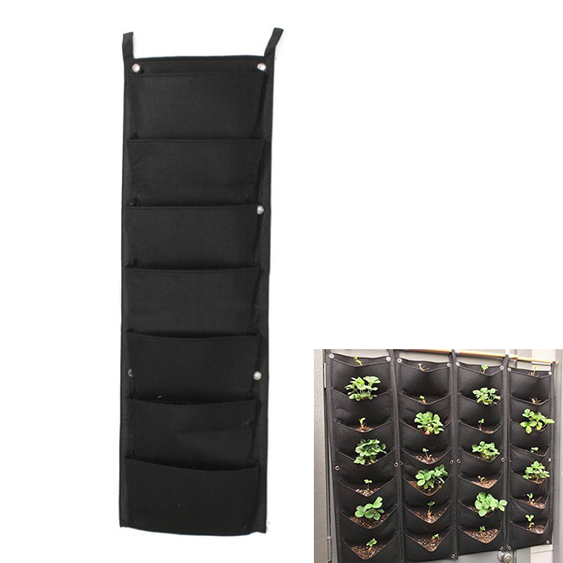 7 Pockets Wall Garden Hanging Planting Bags Vertical Outdoor Indoor Planter