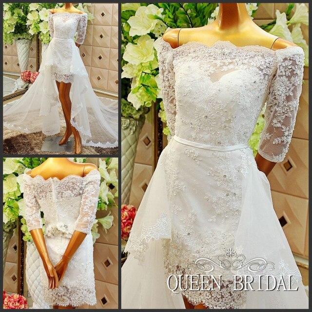 65fa162d1 Una línea vestido de novia corto con falda desmontable cola tul Apliques de  encaje vestido de