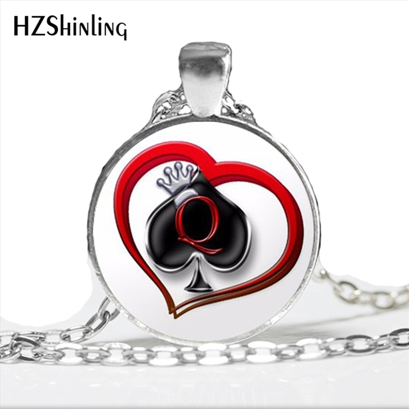 NS-00755 New DIY Poker Necklace Spades Q Heart Club statement Necklace Handmade Glass Cabochon Jewelry Wholesale HZ1