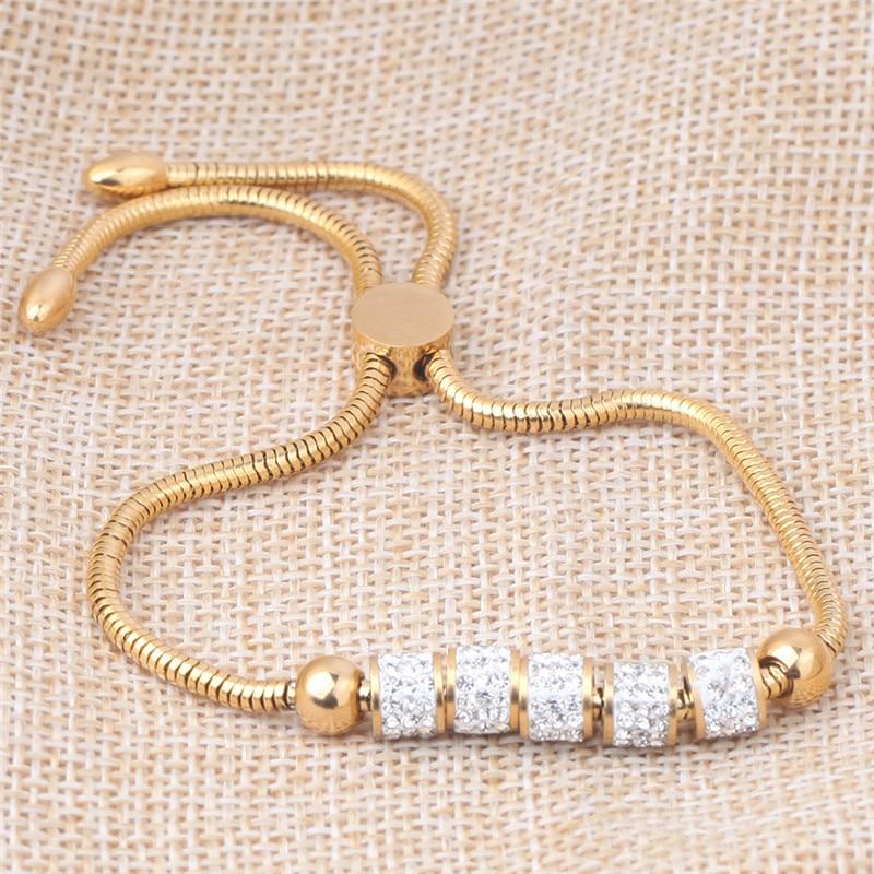 Armbänder & Armreifen Zorcvens Gold Silber Farbe Edelstahl Herz Armband Armreif Modeschmuck Runde Kette & Link Armbänder Für Frauen