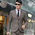 (Casacos + calça + colete) 2016 homens boutique de qualidade slim fit ternos de negócio terno de três-piece/sapatos masculinos de alta-grade Blazers de lã/casaco casacos