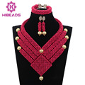 Fabulous Pink Beads Bib Declaración Chapado en Oro del Collar Nigeriano Boda Joyería Conjunto Africano Envío Libre WD743