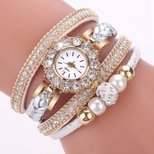 Luxury Gold Leather Watches For Women Pearls Dress Creative