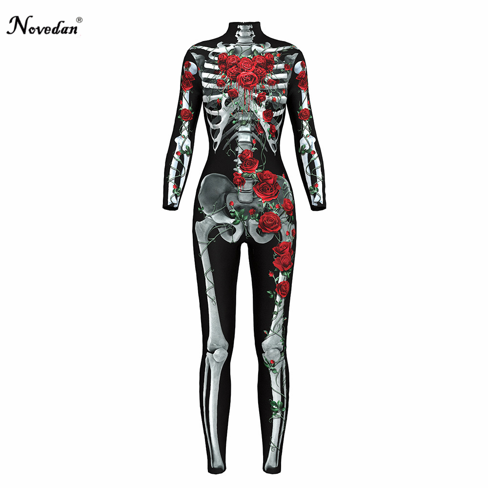 2018 <font><b>Sexy</b></font> Skull <font><b>Halloween</b></font> Costumes For Women Fantasy <font><b>Cosplay</b></font> Party Full Fitness Body Suit Adult Scary Vampire Skeleton Costume image