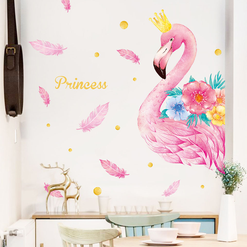 Pink Flamingo <font><b>Unicorn</b></font> Wall Stickers for Kids Rooms Living Room <font><b>Bedroom</b></font> <font><b>Decor</b></font> Cartoon Animal Wall Stickers Wall Decals Room <font><b>Decor</b></font> image
