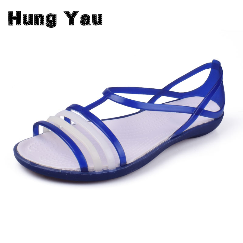 Hung Yau Women's Jelly Shoes Fashion Pointed Toe Summer Style Sandals Women Casual Flat Shoes Lady Beach Blue Shoes Size US 8 hung yau women oxfords flats casual platform black shoes woman spring summer style fashion women lace up flat shoes size us 8