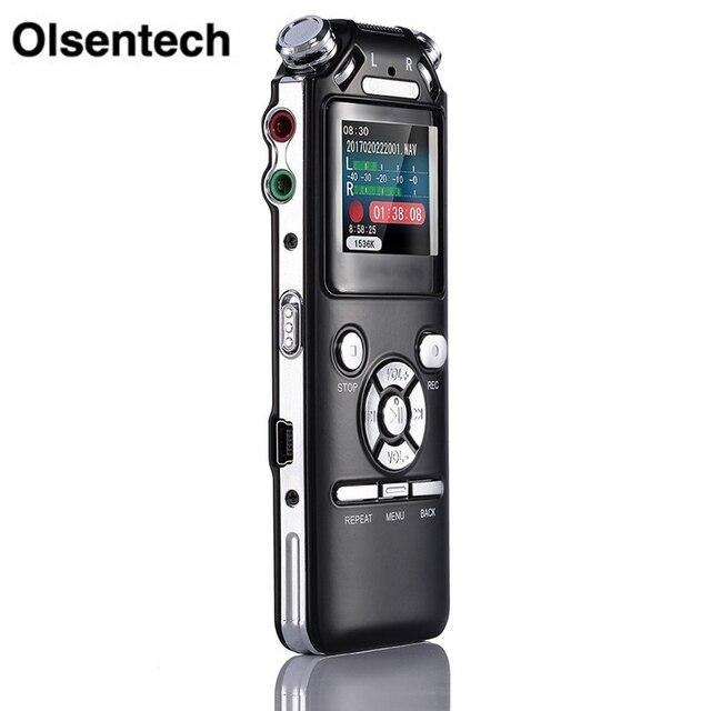 Dyktafon cyfrowy podwójne mikrofony inteligentna redukcja szumów rejestrator dźwięku USB akumulator 8GB pamięci Mp3 WMV