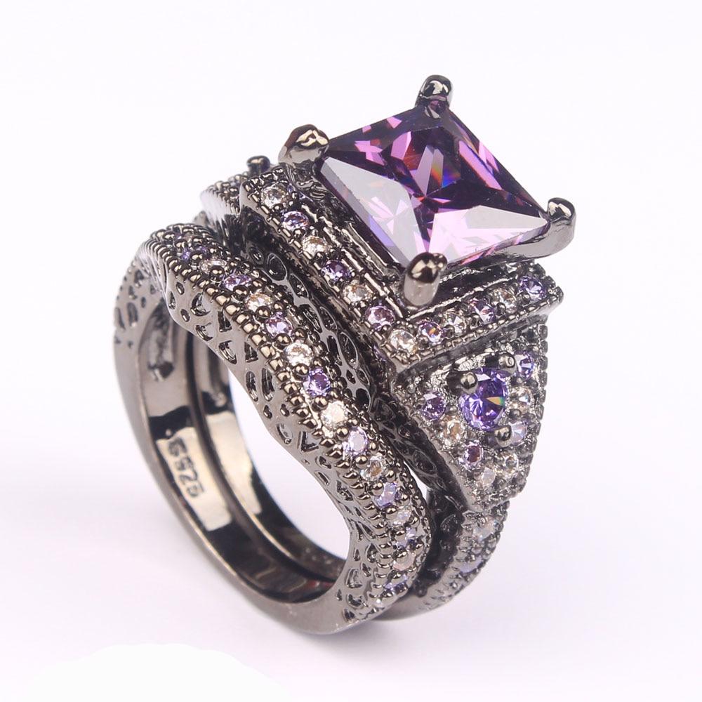 Vintage black Ring Set women created Purple jewelery Wedding Band