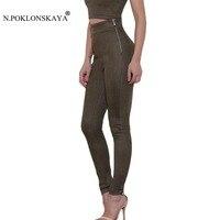 N.POKLONSKAYA Suede Trousers Women Winter Warm Pencil Pants High Waist Sexy Skinny Leggings Ladies Elastic Slim Vintage Pants