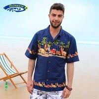 2016 Yaz Yeni Saf Pamuk Kısa Kollu Hawaiian Gömlek Erkekler Rahat Plaj Aloha Gömlek ABD Boyutu Marka Giyim A852