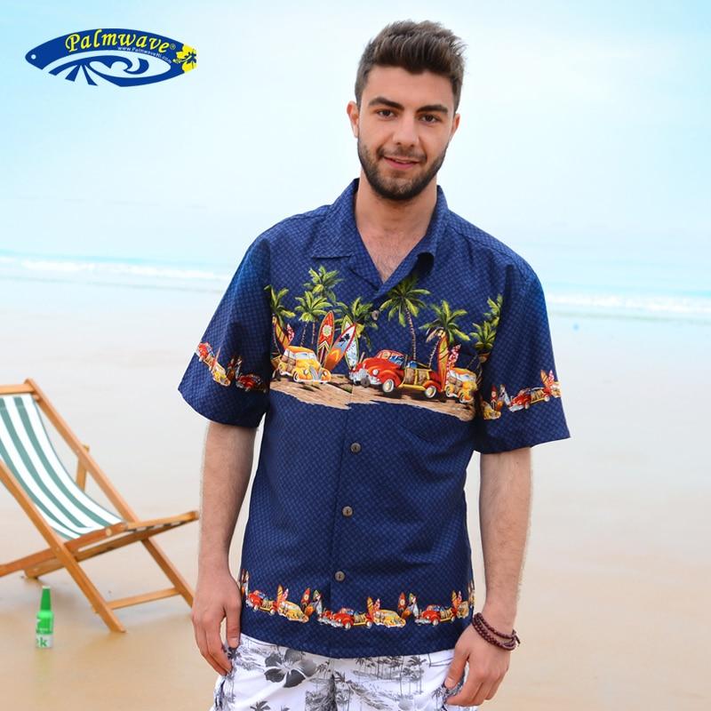 2018 sommer Neue Reine Baumwolle Kurzen Ärmeln Hawaiian Shirt Männer Casual Strand Aloha Hemd UNS Größe Marke Kleidung A852