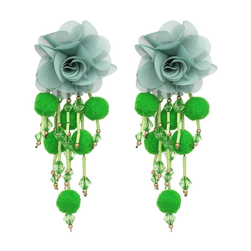 JUJIA Bohemian Long Flower Earrings Pom Pom Big Statement Earrings Fringe Drop Earrings Women Jewelry 15
