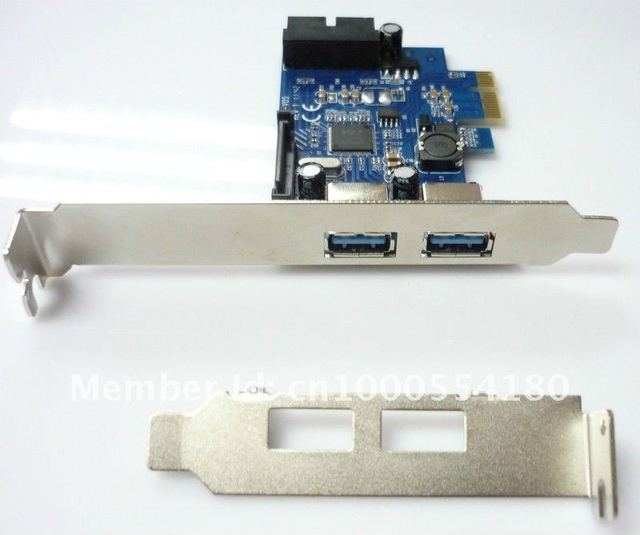 2 ports USB3.0+ internal 19 pin/20pin USB3.0 PCI-express Card Super-Speed 5Gbps--Free shipping