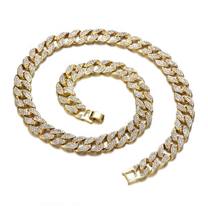 Image 5 - Кубинская цепь Майами мужская, ожерелье из панцирной кубинской цепи, украшение под золото 16 мм 30 дюймов, с фианитами, украшение в стиле хип хоп