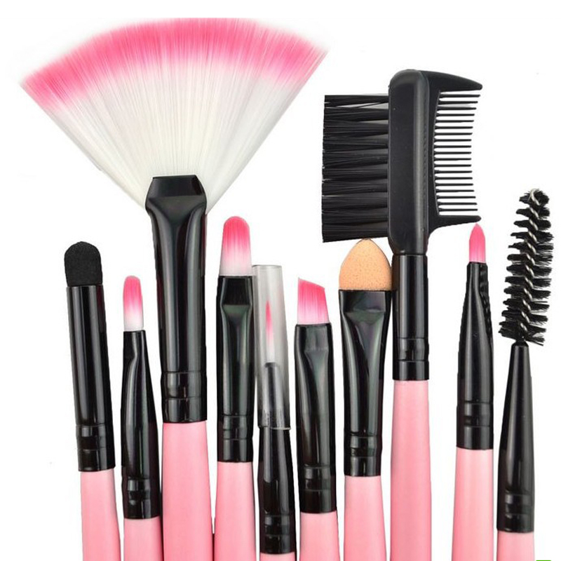 24Pcs/Set Professional Brushes Cosmetic Kit Eyebrow Eyeshadow Foundation Powder Make Up Brush Kits Pink Wood Handle Makeup Tools 12pcs makeup brush set wood handle facial mask foundation brushes cosmetic eyeshadow eyebrow make up brush kit makeup bag