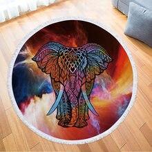 2788003f1c49 Elefante Impressão Borlas Bohemian Círculo Toalha de Microfibra Toalhas de  Banho Rodada BTW007 Nadar Praia Férias
