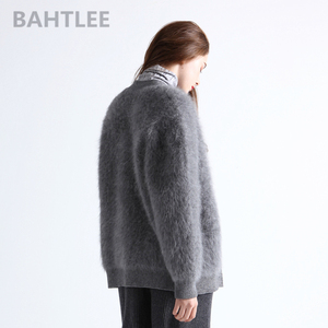 Image 3 - BAHTLEE Winter womens Angora cardigans Sweater knitted Mink cashmere V Neck Button Pocket Very Thick Keep Warm