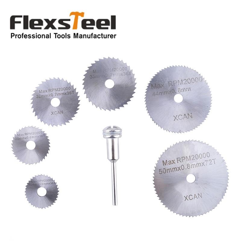 Flexsteel 7pcs HSS High Speed Steel Circular Saw Blades Set With Mandrels Shank For Metal Dremel Rotary Tool