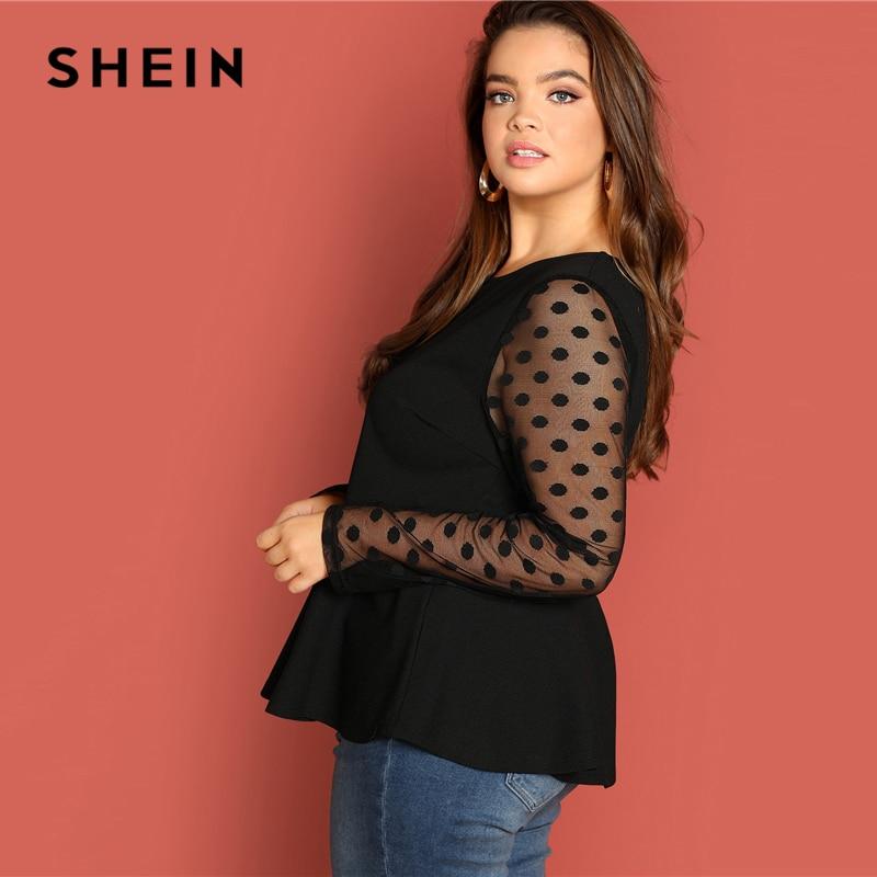 SHEIN Black Highstreet Elegant Plus Size Dot Contrast Mesh Sleeve Peplum Ruffle Hem Top Tee Autumn Women Casual Women Tshirt 2