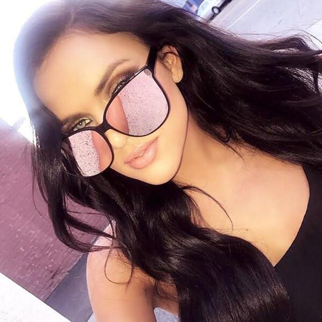 9d95566f17 2018 Fashion Women Colour Luxury Flat Top Cat Eye Sunglasses Elegant oculos  de sol men Twin