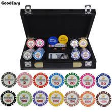 100/200/300/400/500 teile/satz Gold Crown Poker Chip Ton Casino Chips Texas Hold'em Poker sets Mit PU-Leder Fall/Box/Koffer(China)