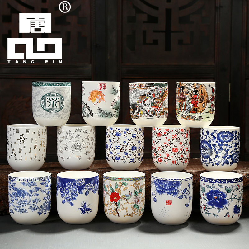 TANGPIN large capacity blue-and-white ceramic tea <font><b>cup</b></font> <font><b>coffee</b></font> <font><b>cups</b></font> <font><b>porcelain</b></font> chinese kung fu teacup drinkware image